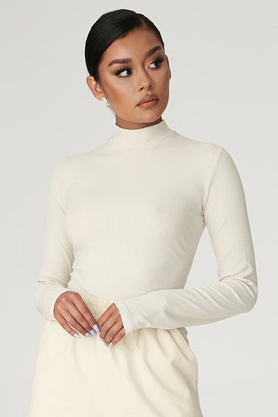 Lexie Long Sleeve Bodysuit - Sand