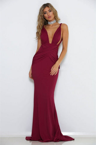 Laura Wrap Gown - Burgundy