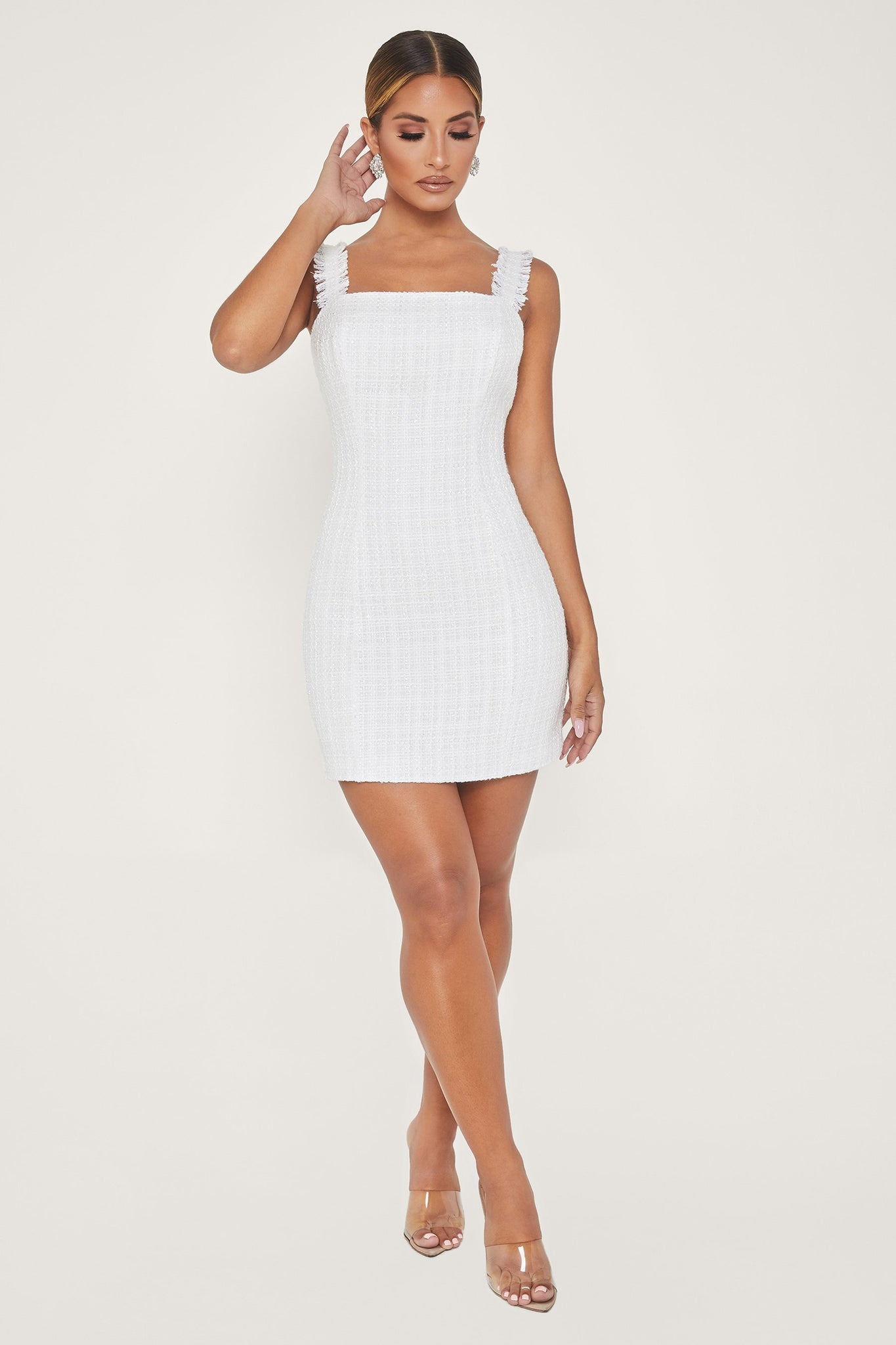 Celena Tweed Mini Dress - White - MESHKI