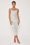 Blythe Sequin Square Neck Midi Dress - Silver