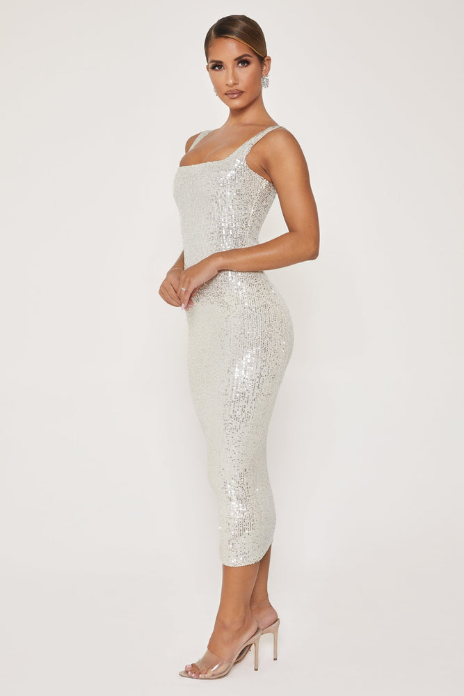Blythe Sequin Square Neck Midi Dress - Silver - MESHKI