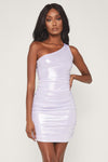 Kaelin One Shoulder Ruched Mini Dress - Silver