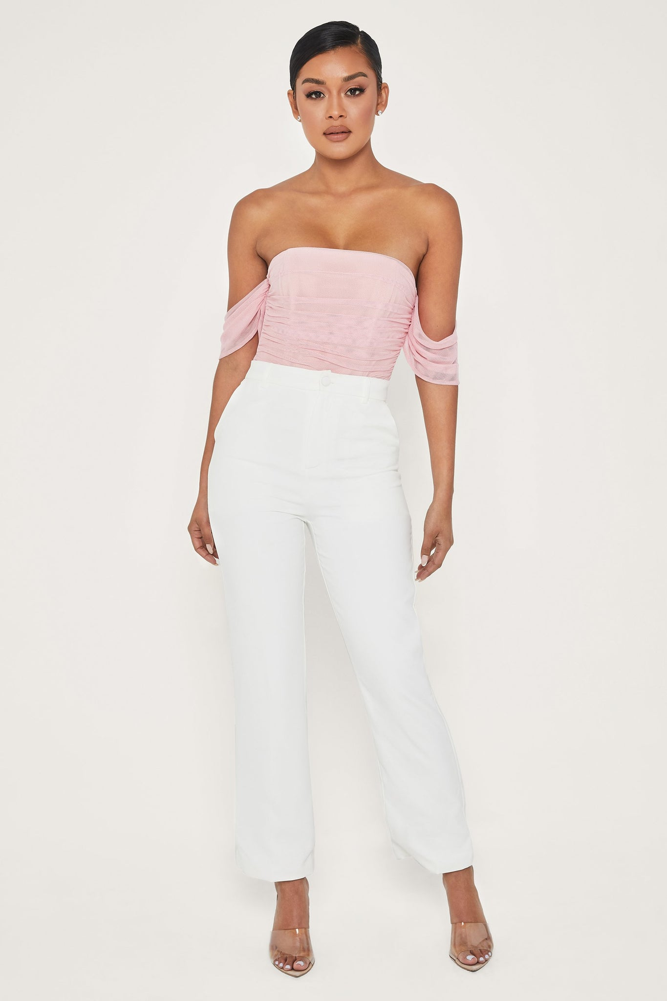 Delaney Off Shoulder Mesh Bodysuit - Pink - MESHKI