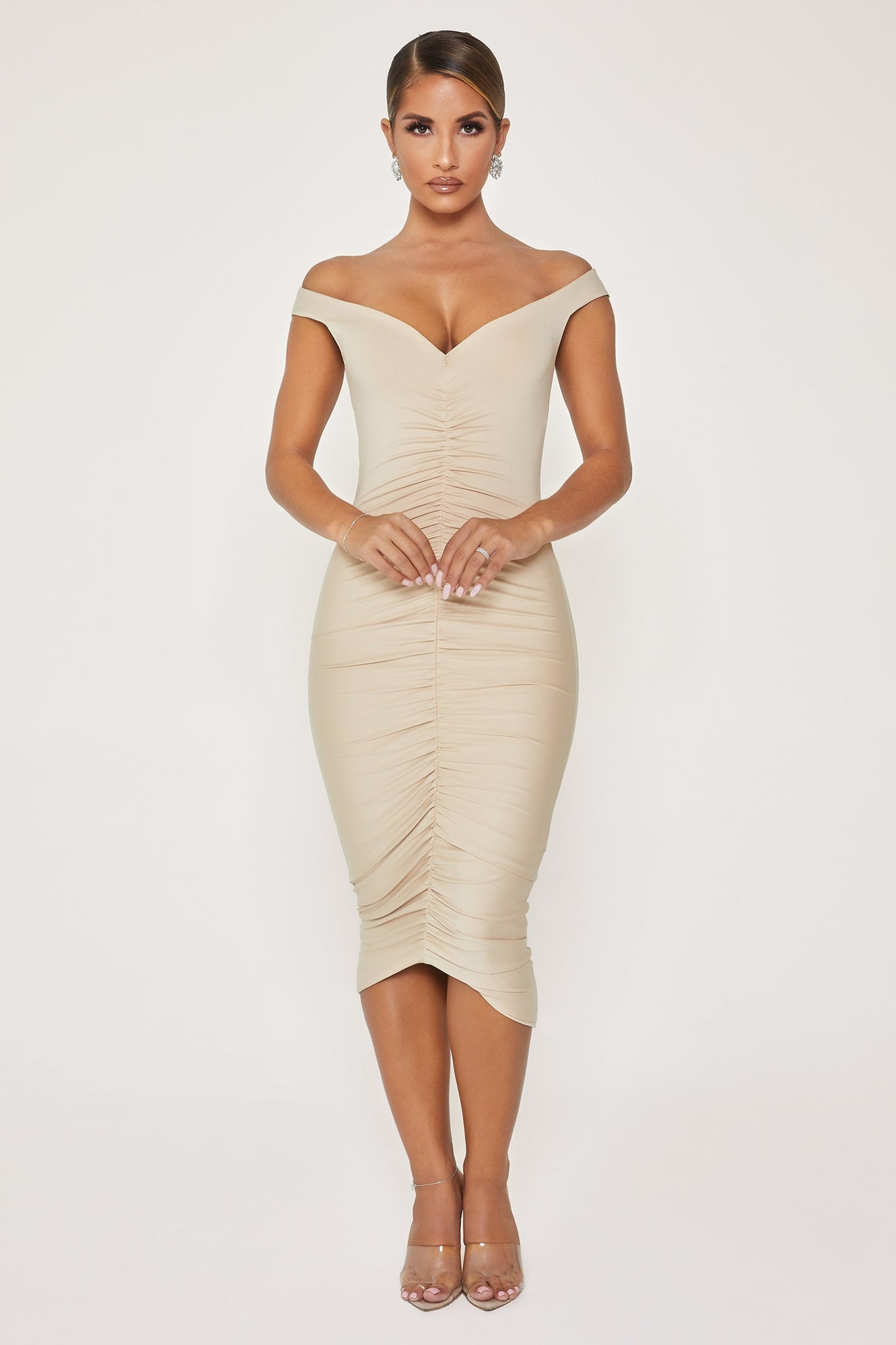 Siya Ruched Off The Shoulder Dress - Nude - MESHKI