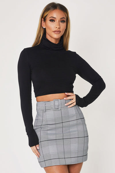 Cylene High Neck Long Sleeve Crop Top - Black