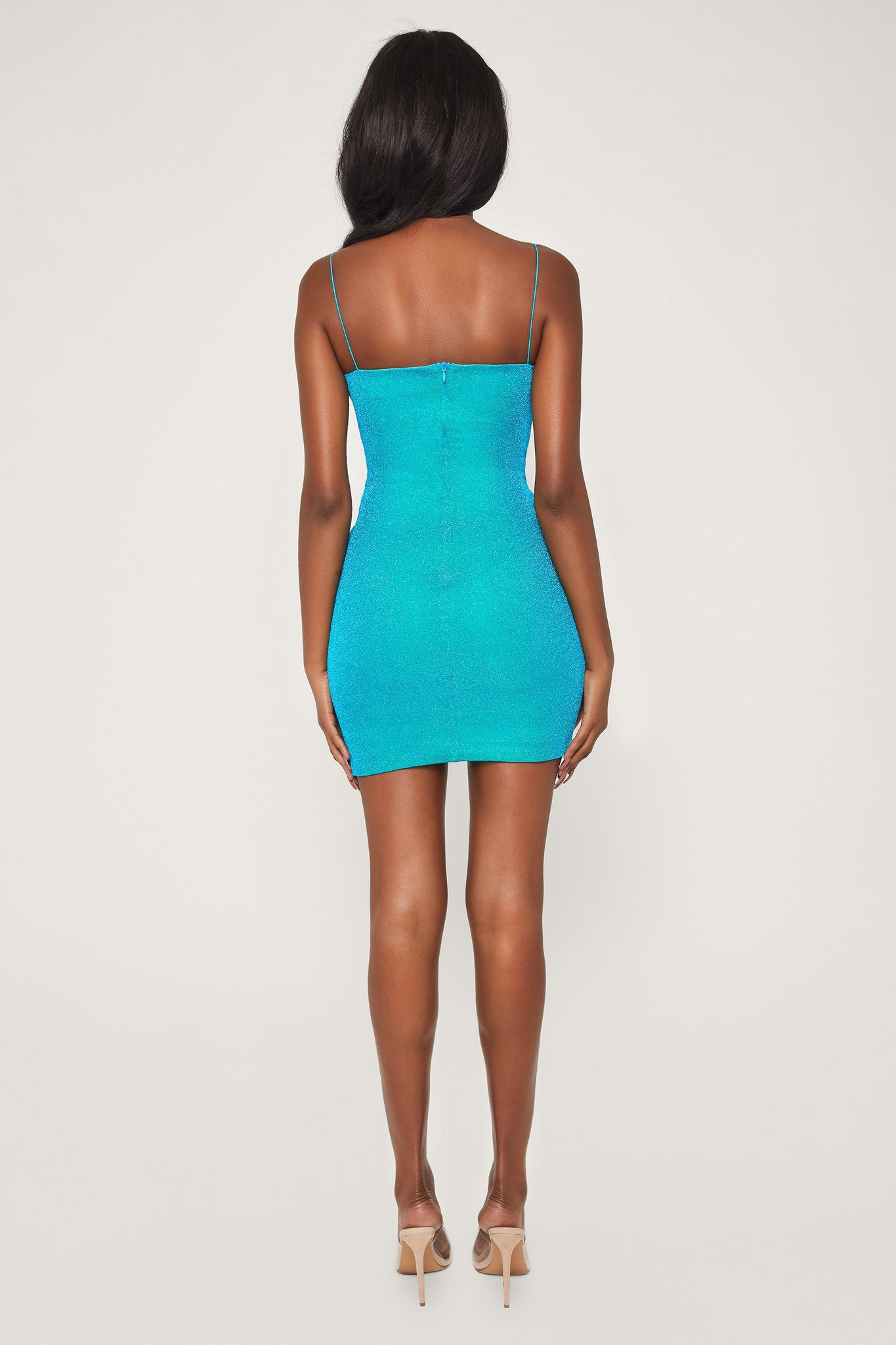Mia Thin Strap Shimmer Dress - Turquoise - MESHKI