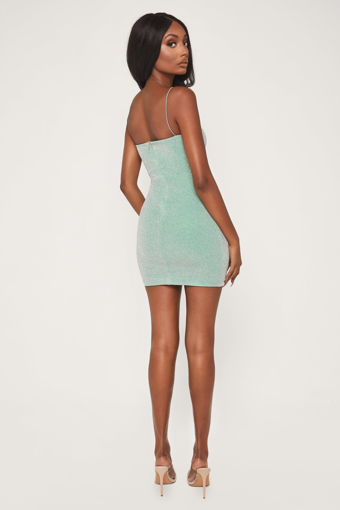 Mia Thin Strap Shimmer Dress - Mint - MESHKI