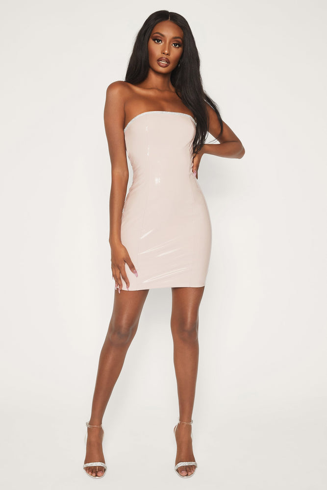 Emma Latex Diamante Strapless Mini Dress - Nude - MESHKI