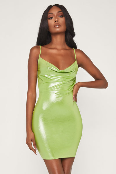 Kalia Cowl Neck Mini Dress - Lime Green