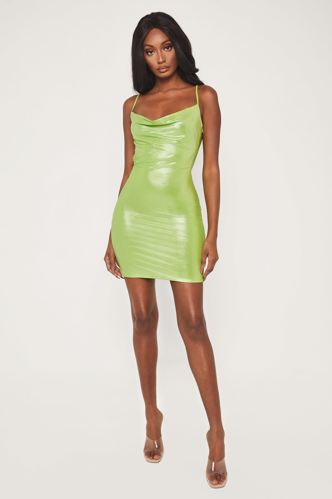 Kalia Cowl Neck Mini Dress - Lime Green - MESHKI