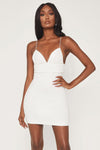 Iyana Diamante Trim Mini Dress - White