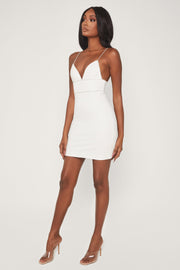 Iyana Diamante Trim Mini Dress - White - MESHKI