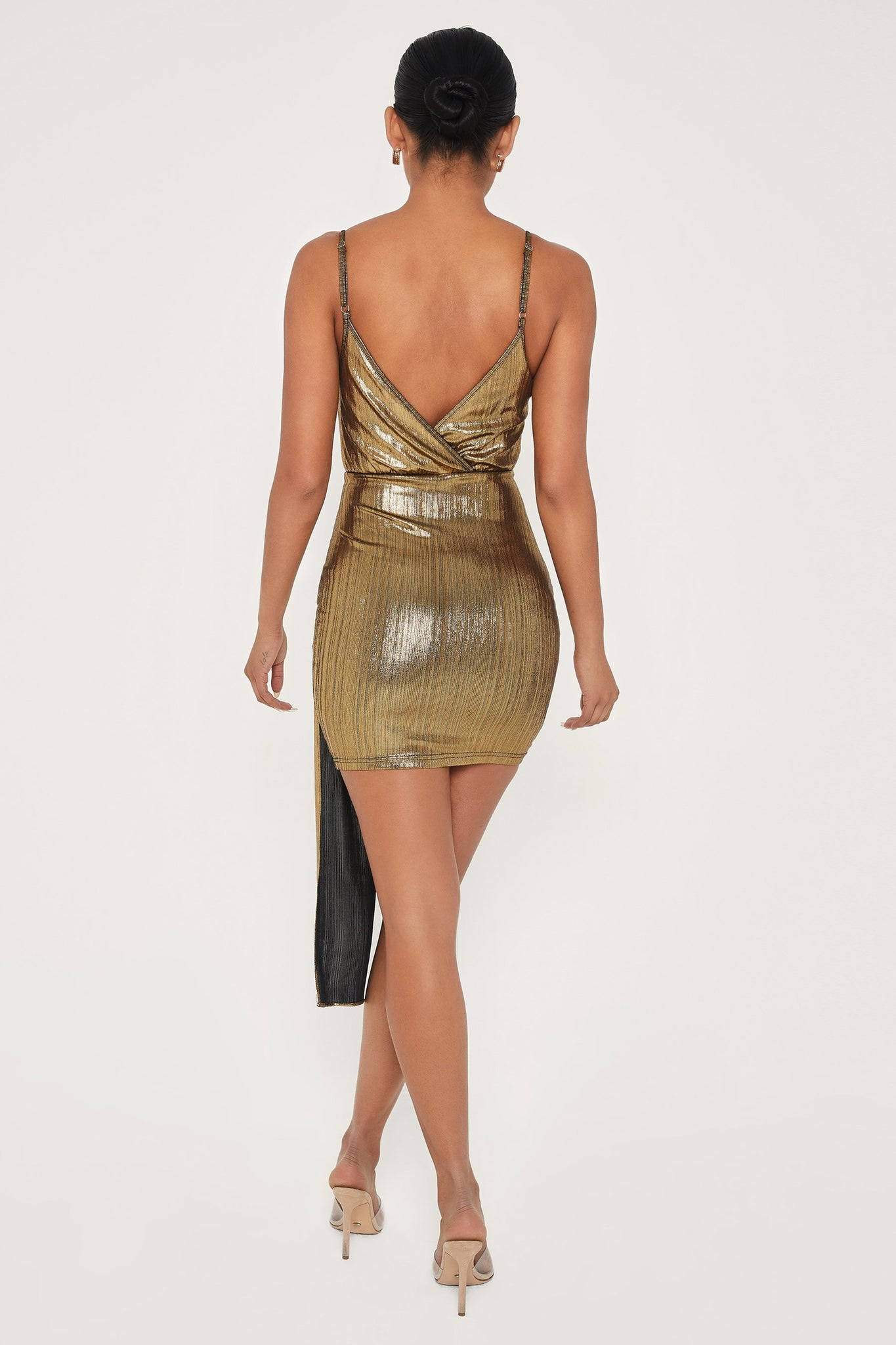 Dante Draped Wrap Mini Dress - Gold - MESHKI