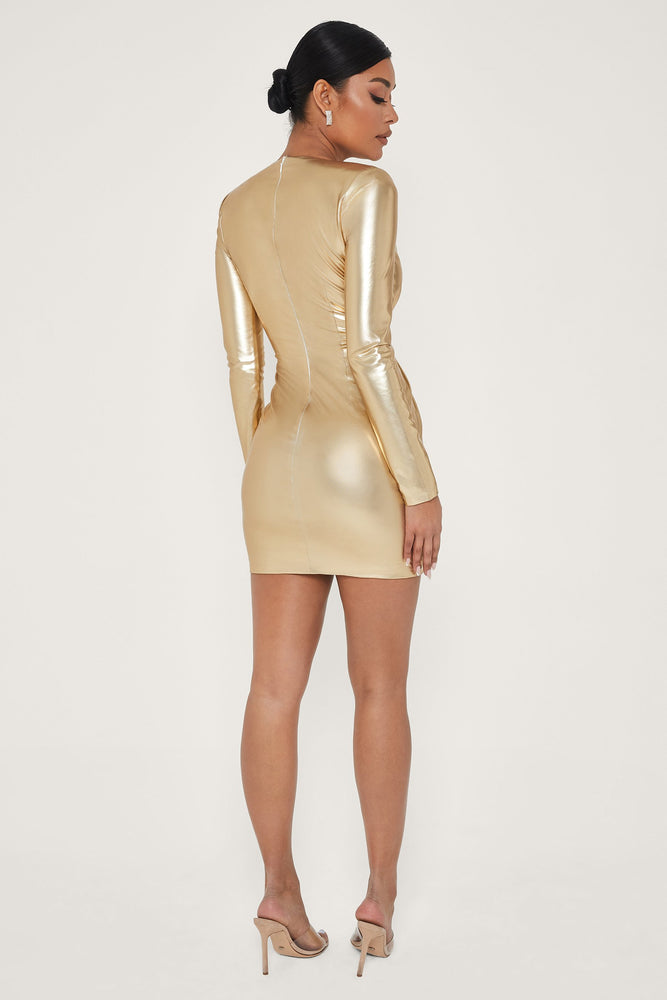 Hazel Low Cut Long Sleeve Mini Dress - Gold - MESHKI