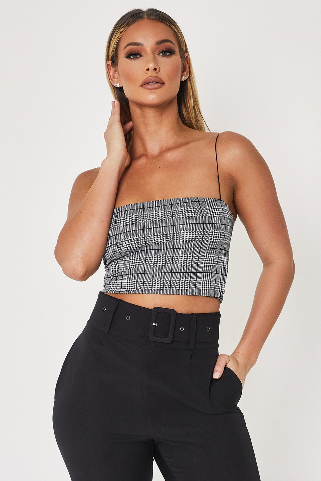 Yvonne Crop Top - Check - MESHKI
