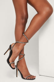 Ora Diamante Strap High Heel Sandals - Black - MESHKI