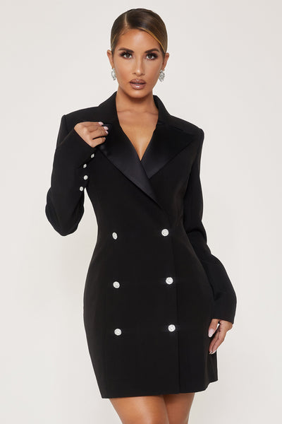 Rebekah Contrast Lapel Double Breasted Blazer Dress - Black