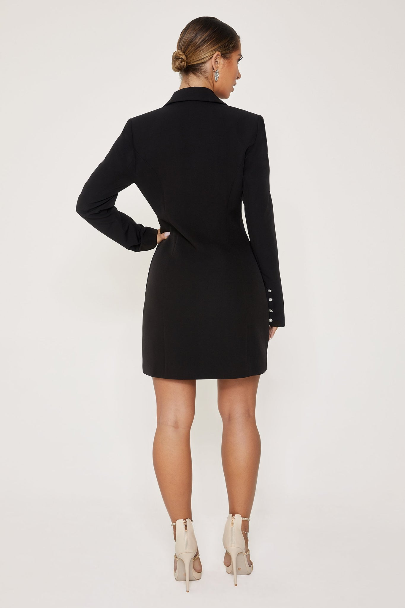 Rebekah Contrast Lapel Double Breasted Blazer Dress - Black - MESHKI