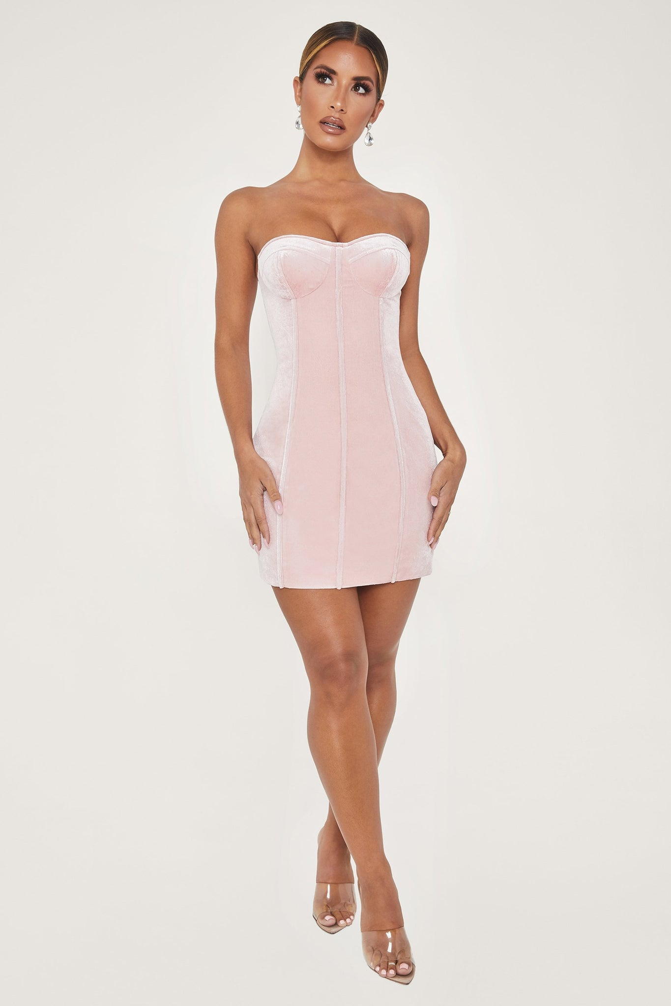 Dean Strapless Corset Mini Dress - Pink - MESHKI