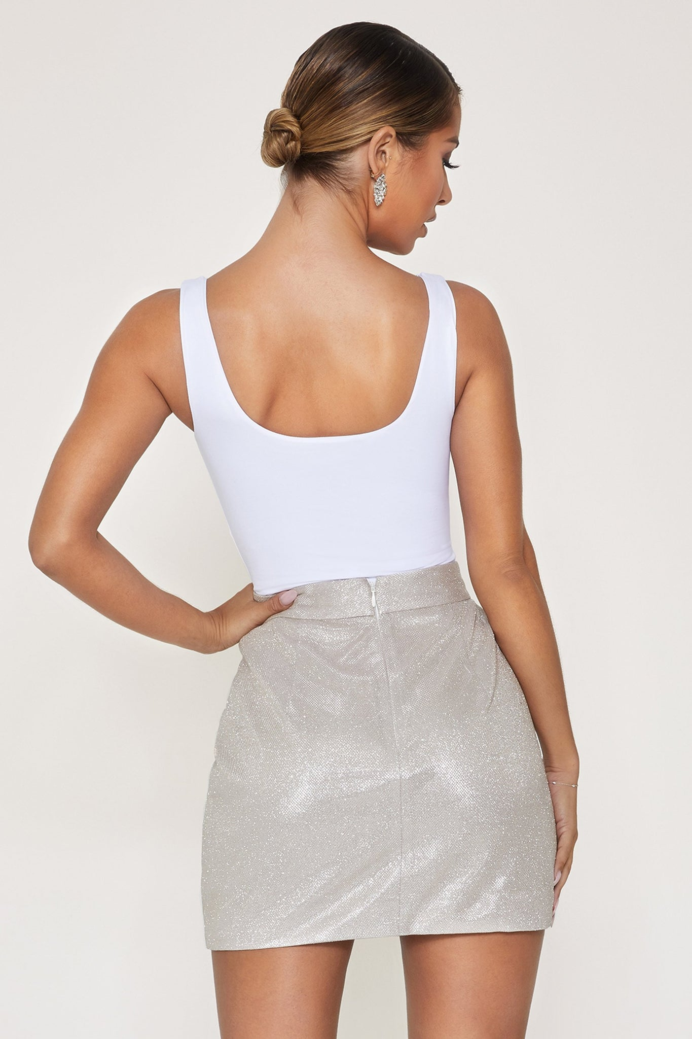 Vive High Waisted Mini Skirt - Silver - MESHKI