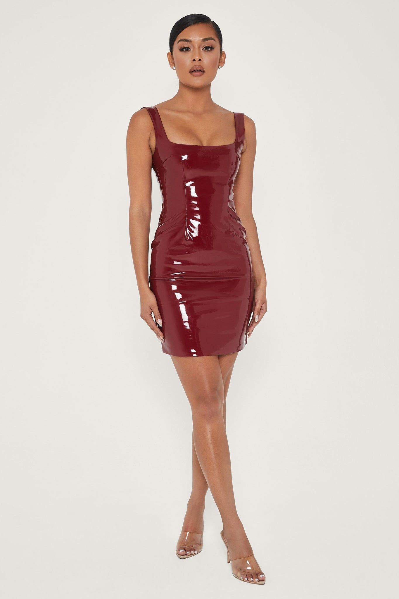 Romy Square Neck Latex Mini Dress - Burgundy - MESHKI