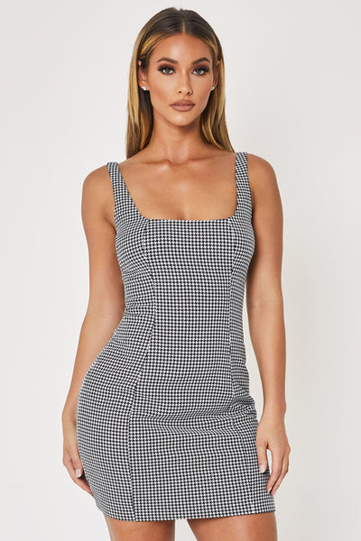 Fillie Square Neck Mini Dress - Houndstooth