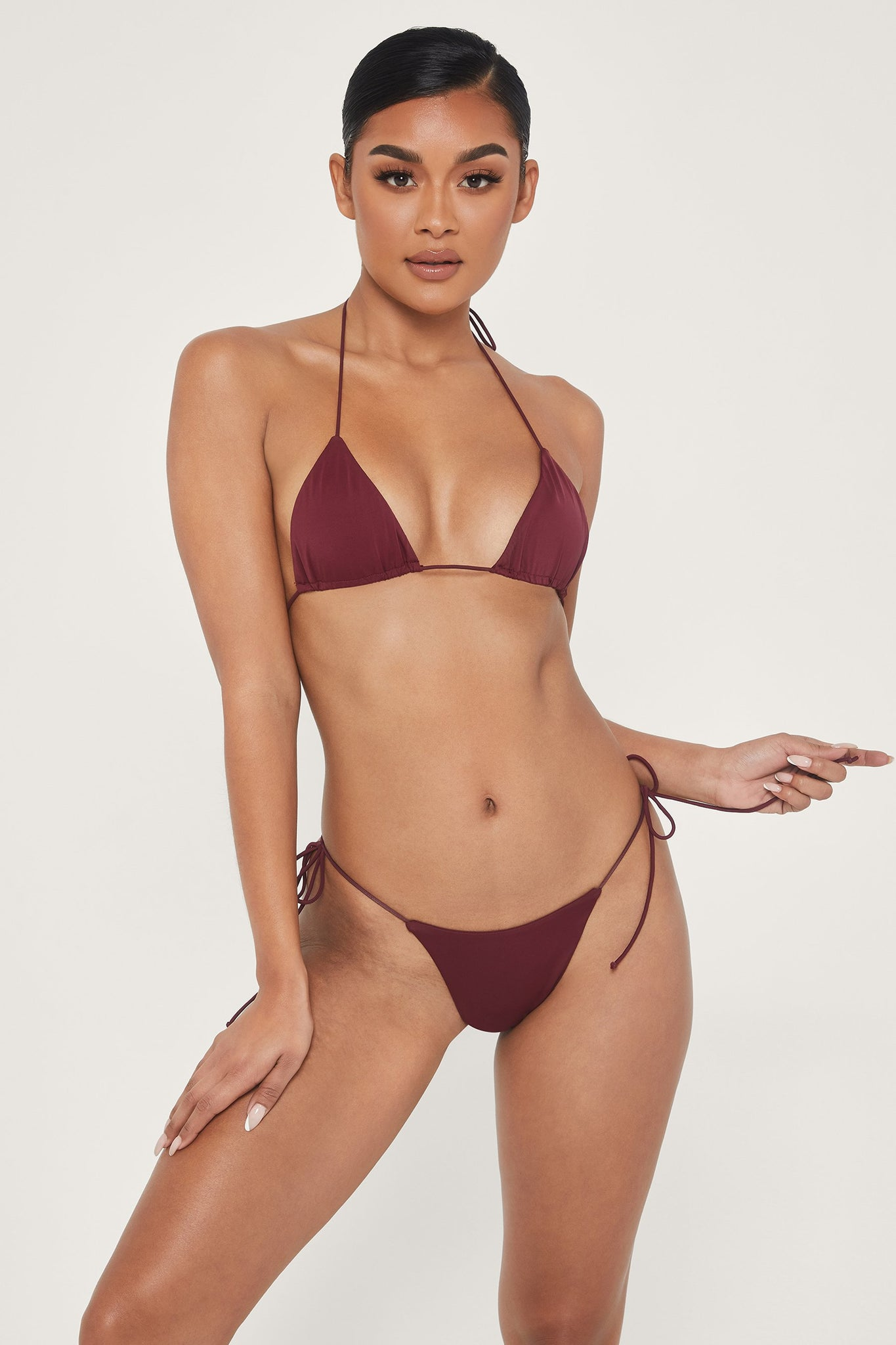 Amalia Tie Up Bikini Bottoms - Burgundy - MESHKI