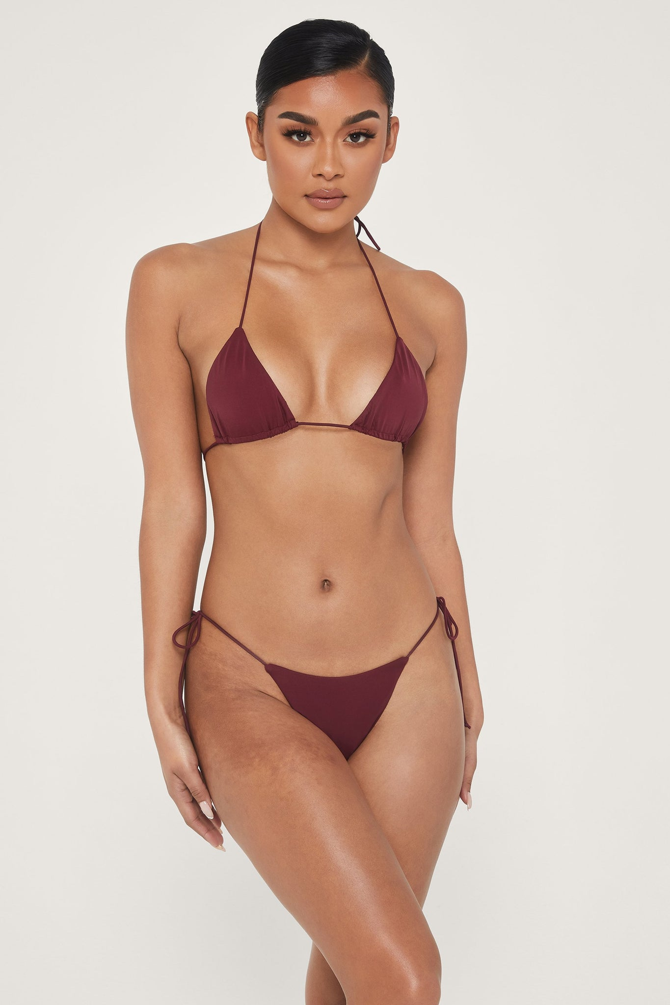 Amalia Tie Up Bikini Top - Burgundy - MESHKI