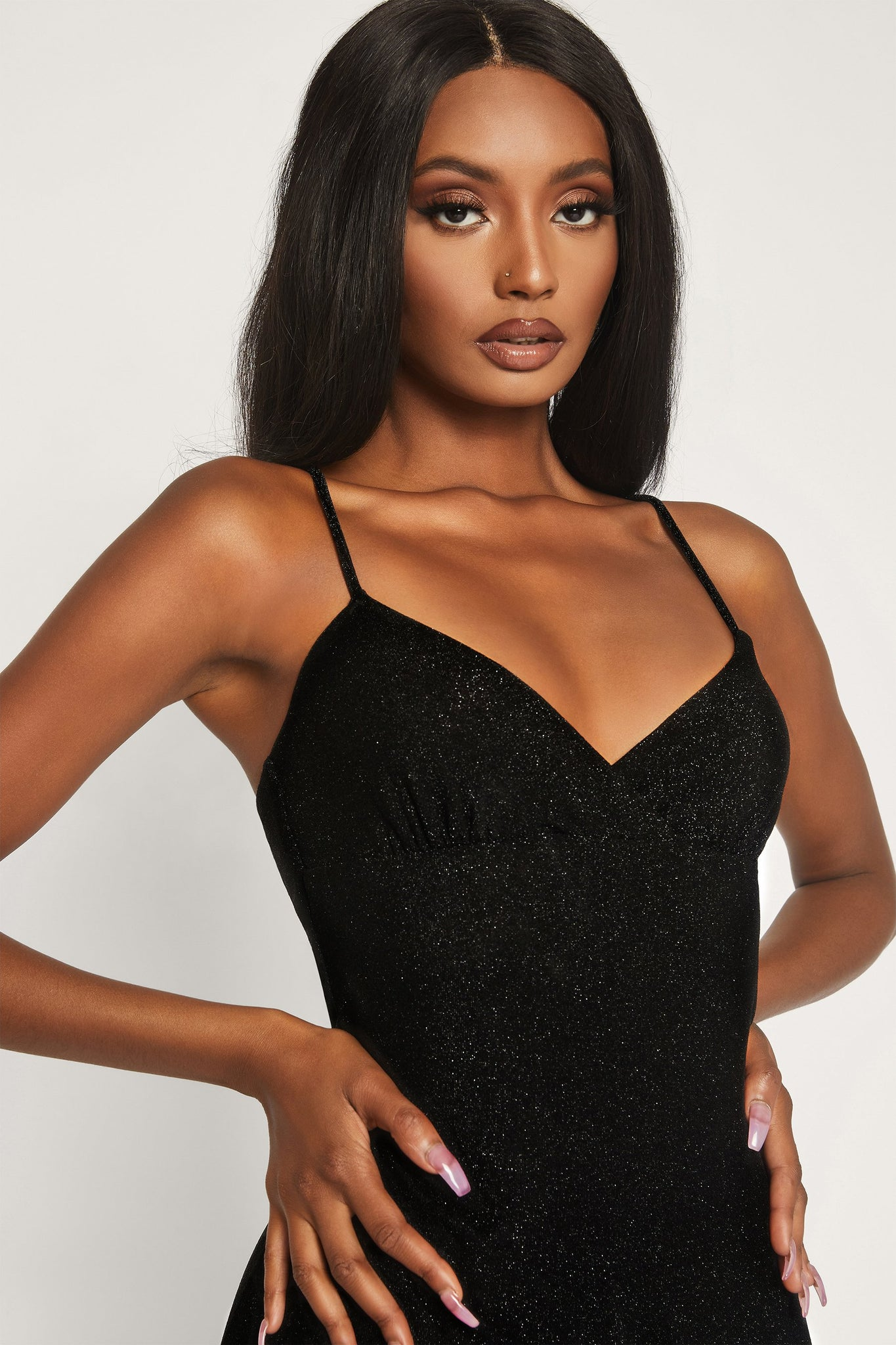 Lexia Shimmer Mini Dress - Black - MESHKI