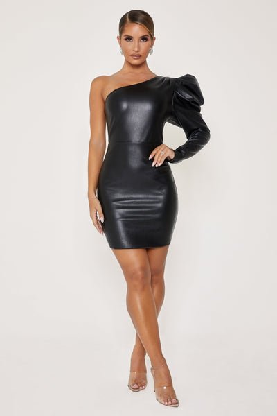 Ataya Leatherette One Shoulder Puff Sleeve Dress - Black