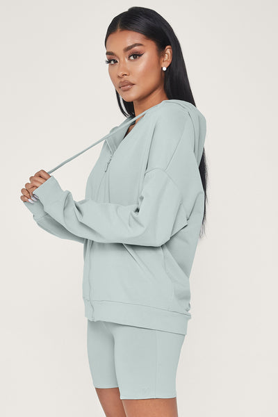 Maia Long Sleeve Zip Up Hoodie - Storm