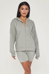 Maia Long Sleeve Zip Up Hoodie Jacket - Sage