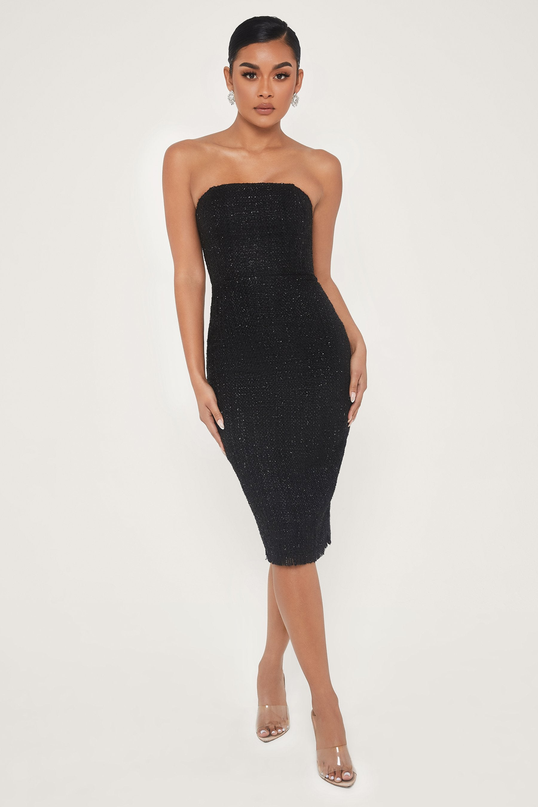 Coco Strapless Tweed Midi Dress Black