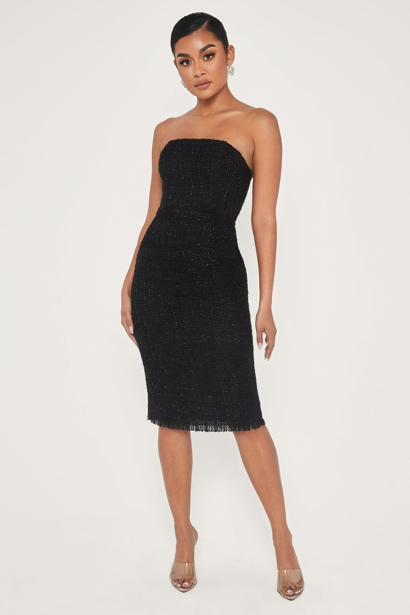 Coco Strapless Tweed Midi Dress - Black - MESHKI
