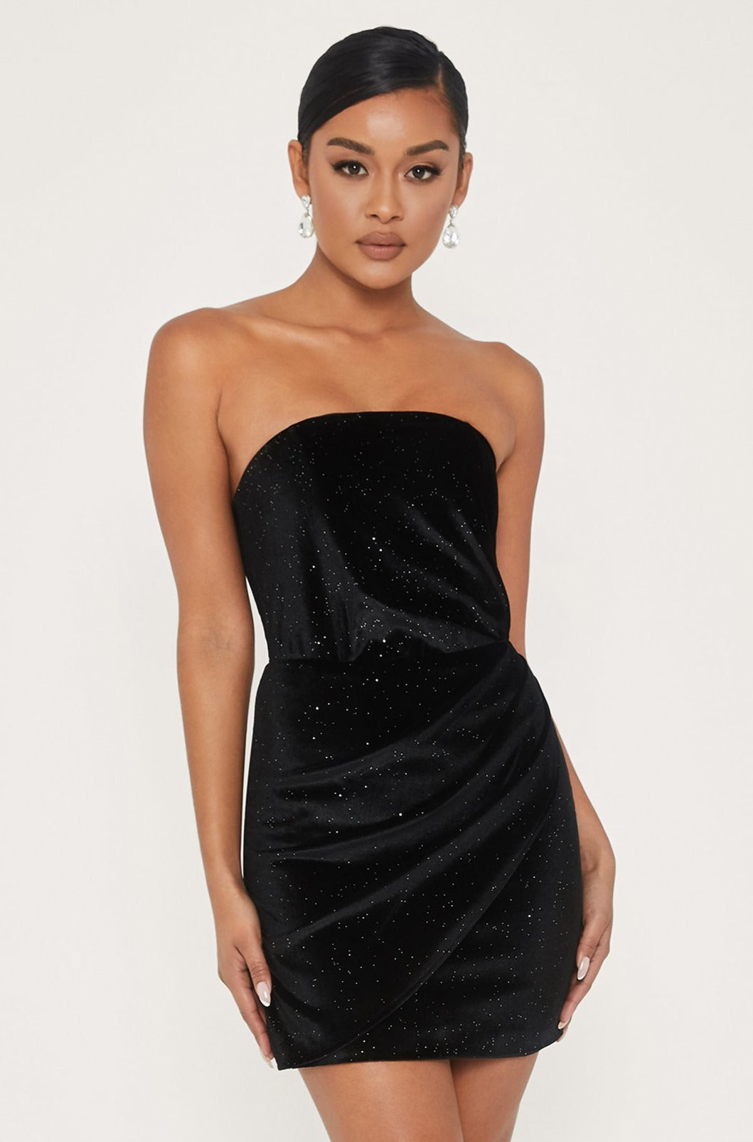 Geme Velvet Strapless Wrap Mini Dress Black