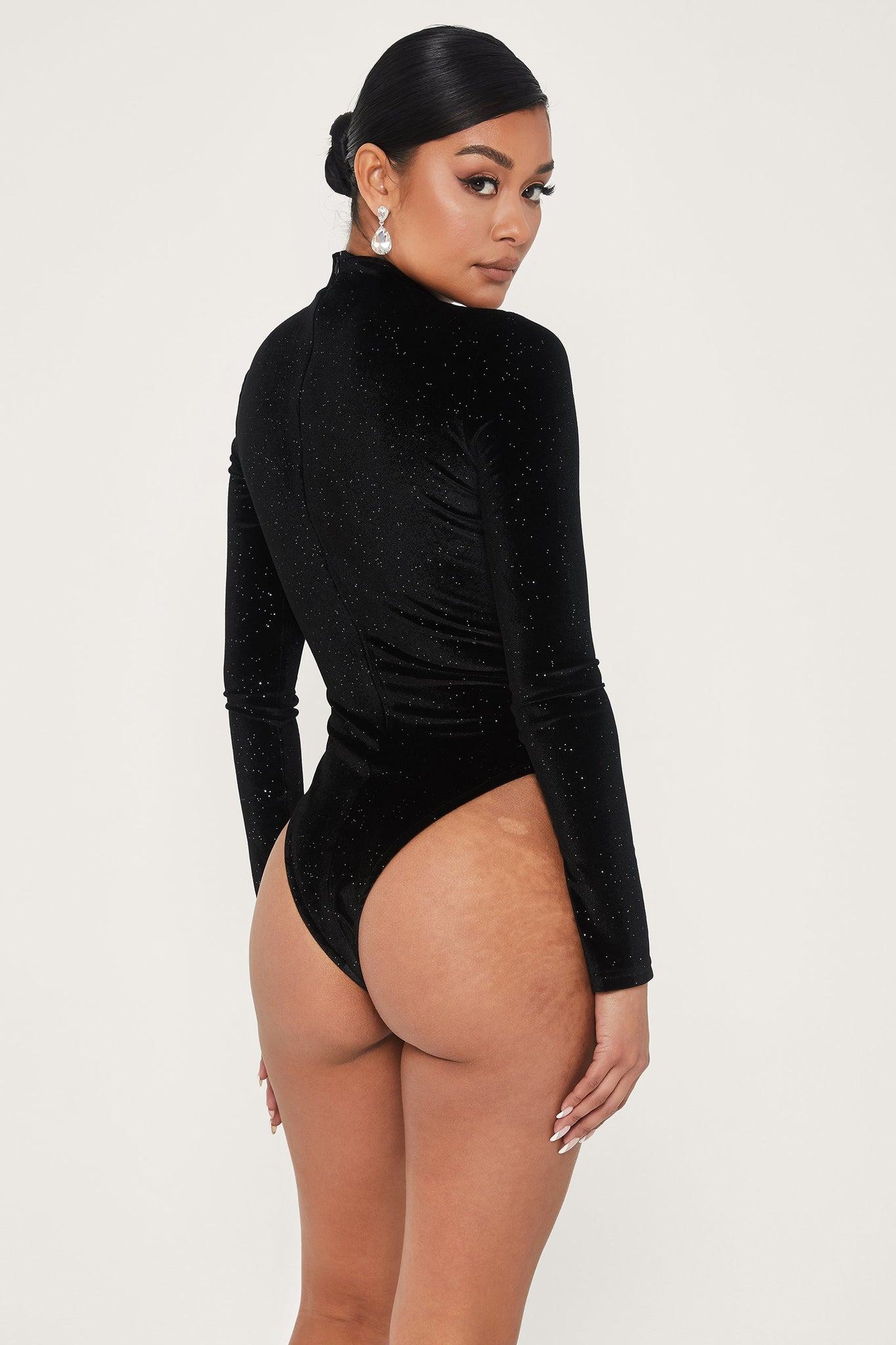 Grecia Velvet High Neck Bodysuit - Black - MESHKI