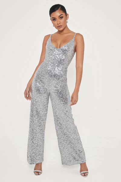 Cybill Thin Strap Plunge Wide Leg Sequin Jumpsuit - Silver