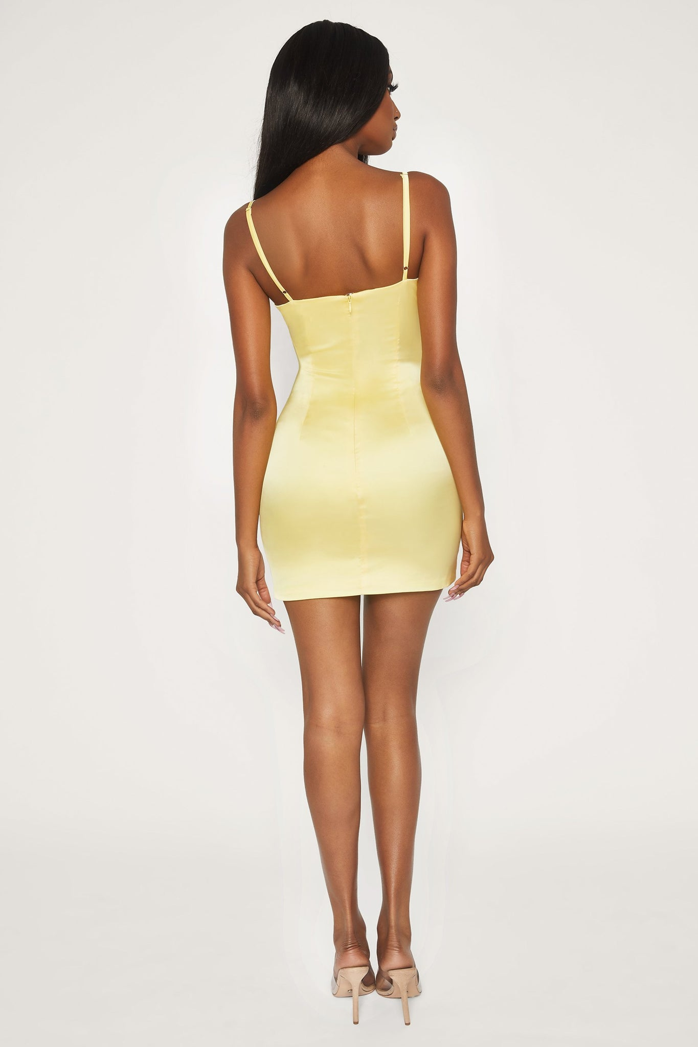 Tasia Tie Front Satin Mini Dress - Lemon - MESHKI
