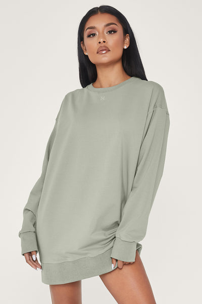Maci Long Sleeve Jumper Dress - Sage