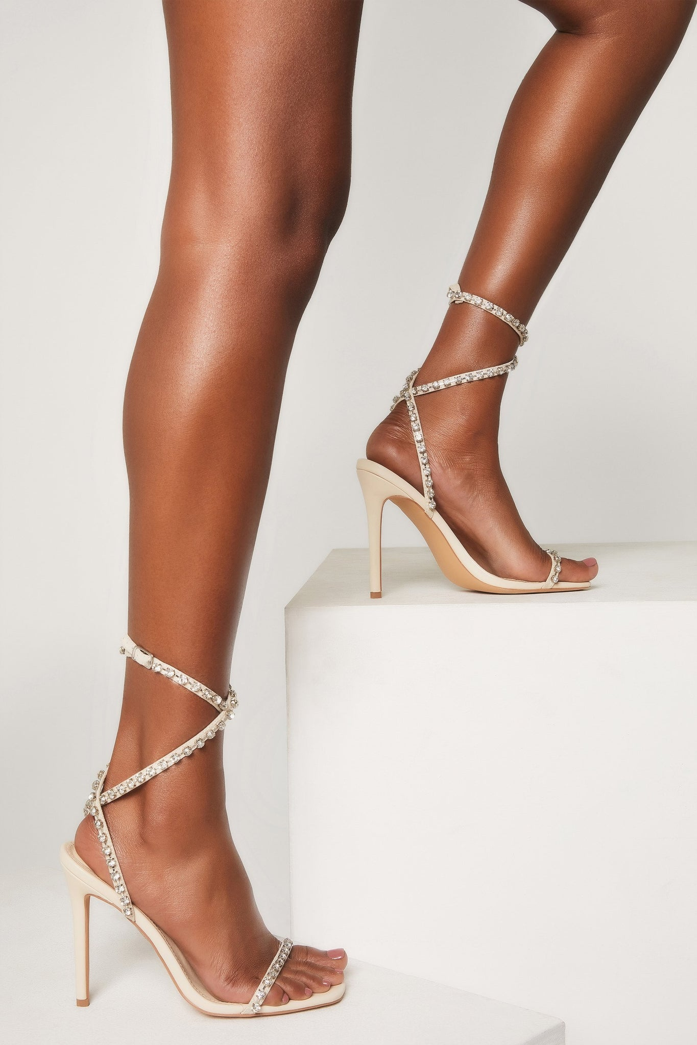 Ora Diamante Strap High Heel Sandals - Nude - MESHKI