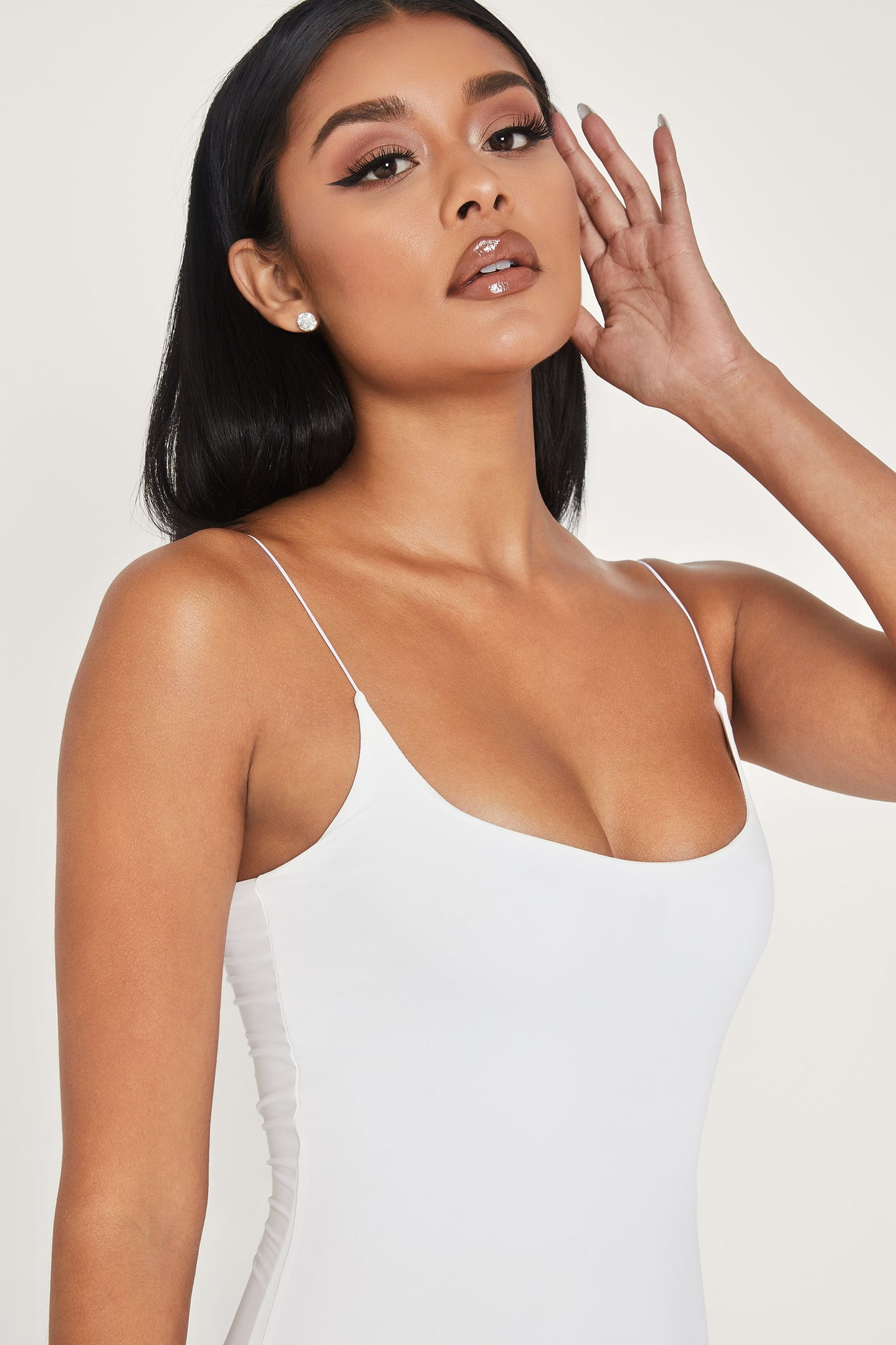 Veda Thin Strap Scoop Neck Dress - White - MESHKI