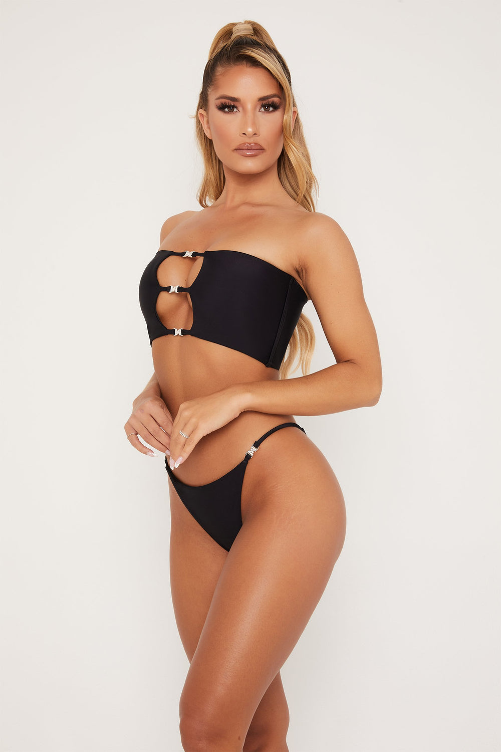 Louise Meshki Logo Three Strap Bandeau Bikini Top - Black - MESHKI