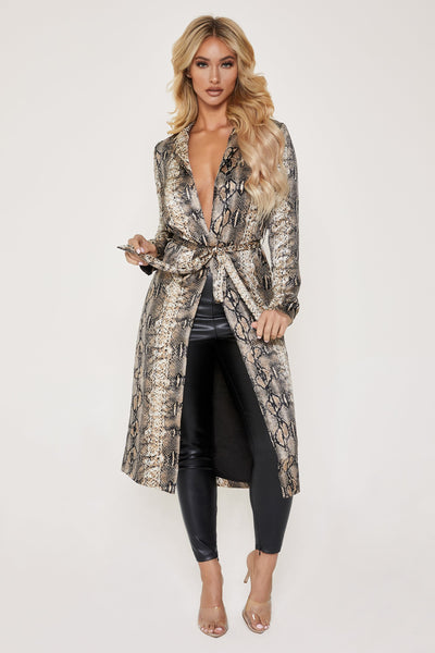 Wyatt Satin Long Coat - Brown Snake