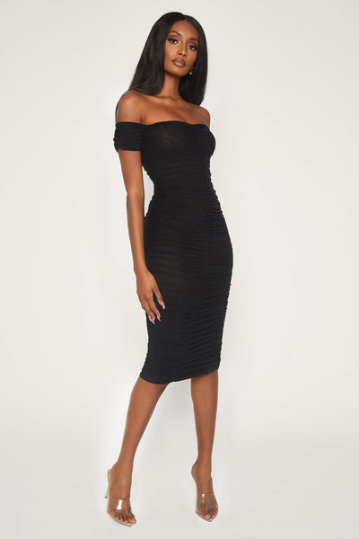 Carolyn Off The Shoulder Mesh Midi Dress - Black