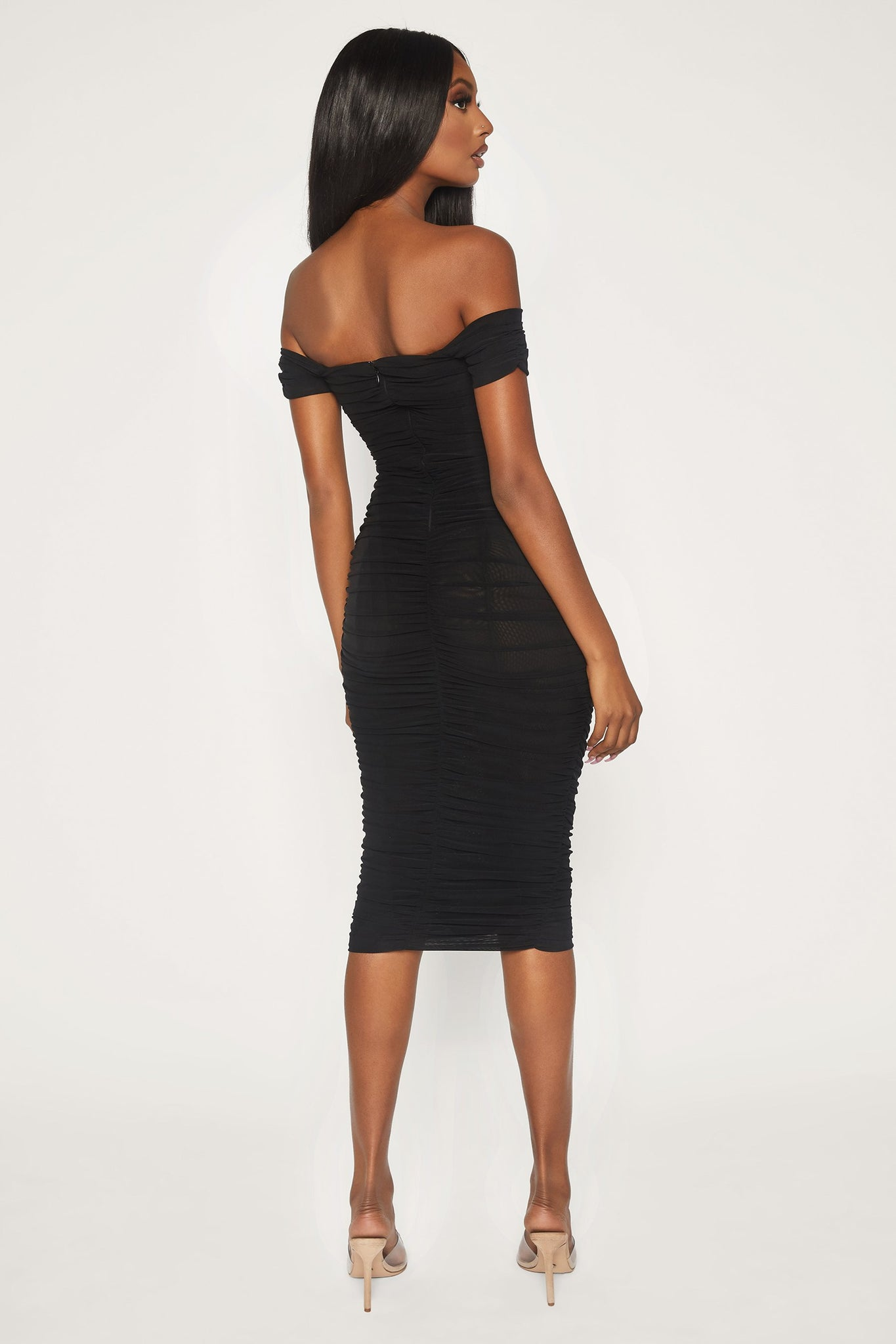 Carolyn Off The Shoulder Mesh Midi Dress - Black - MESHKI