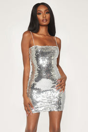 Mia Thin Strap Bodycon Dress - Silver Sequin - MESHKI
