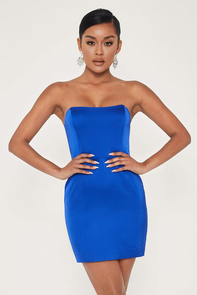 Kalita Strapless Satin Mini Dress - Bright Blue