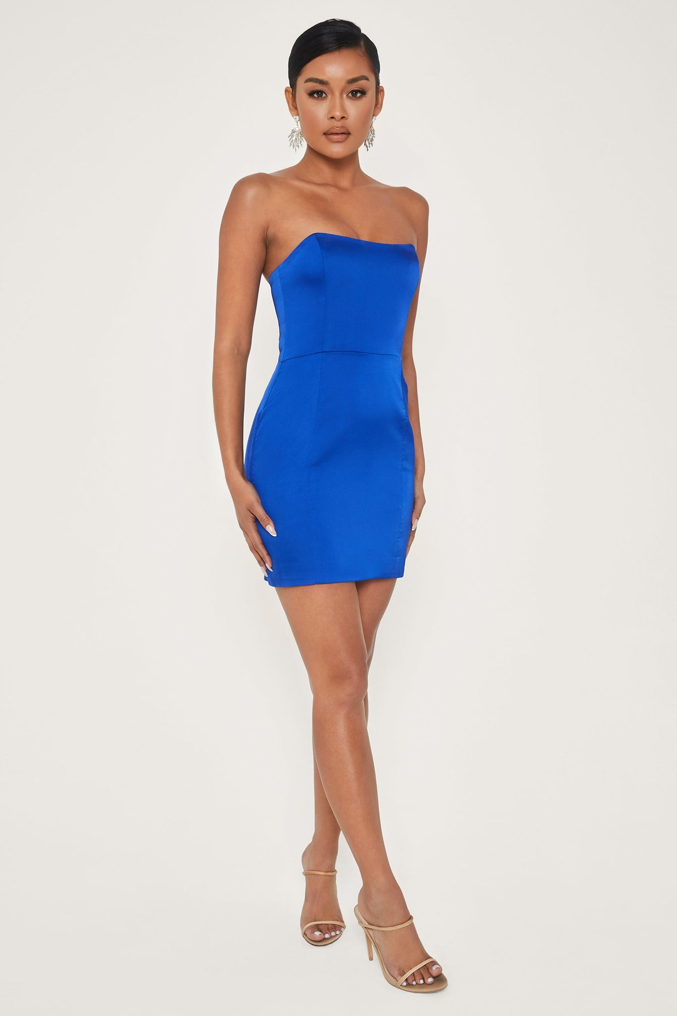Kalita Strapless Satin Mini Dress - Bright Blue - MESHKI