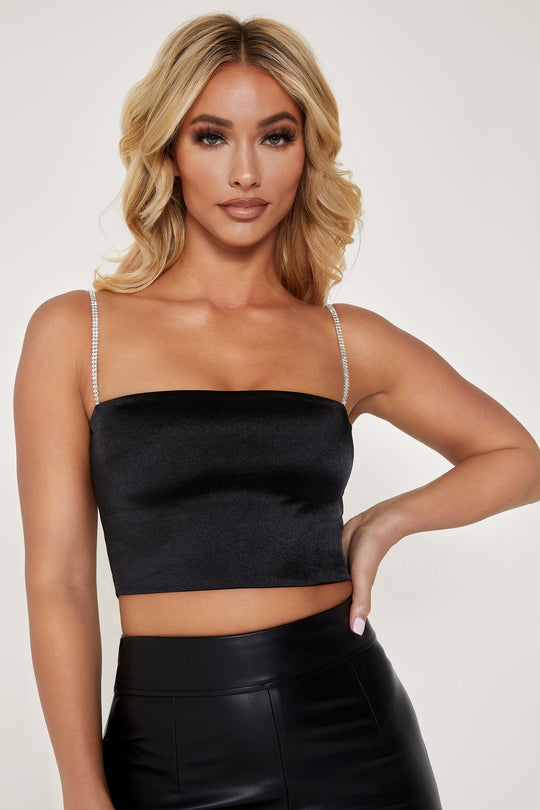 Yvonne Diamante Crop Top - Black by Meshki, available on meshki.com.au for AUD55 Kylie Jenner Top SIMILAR PRODUCT