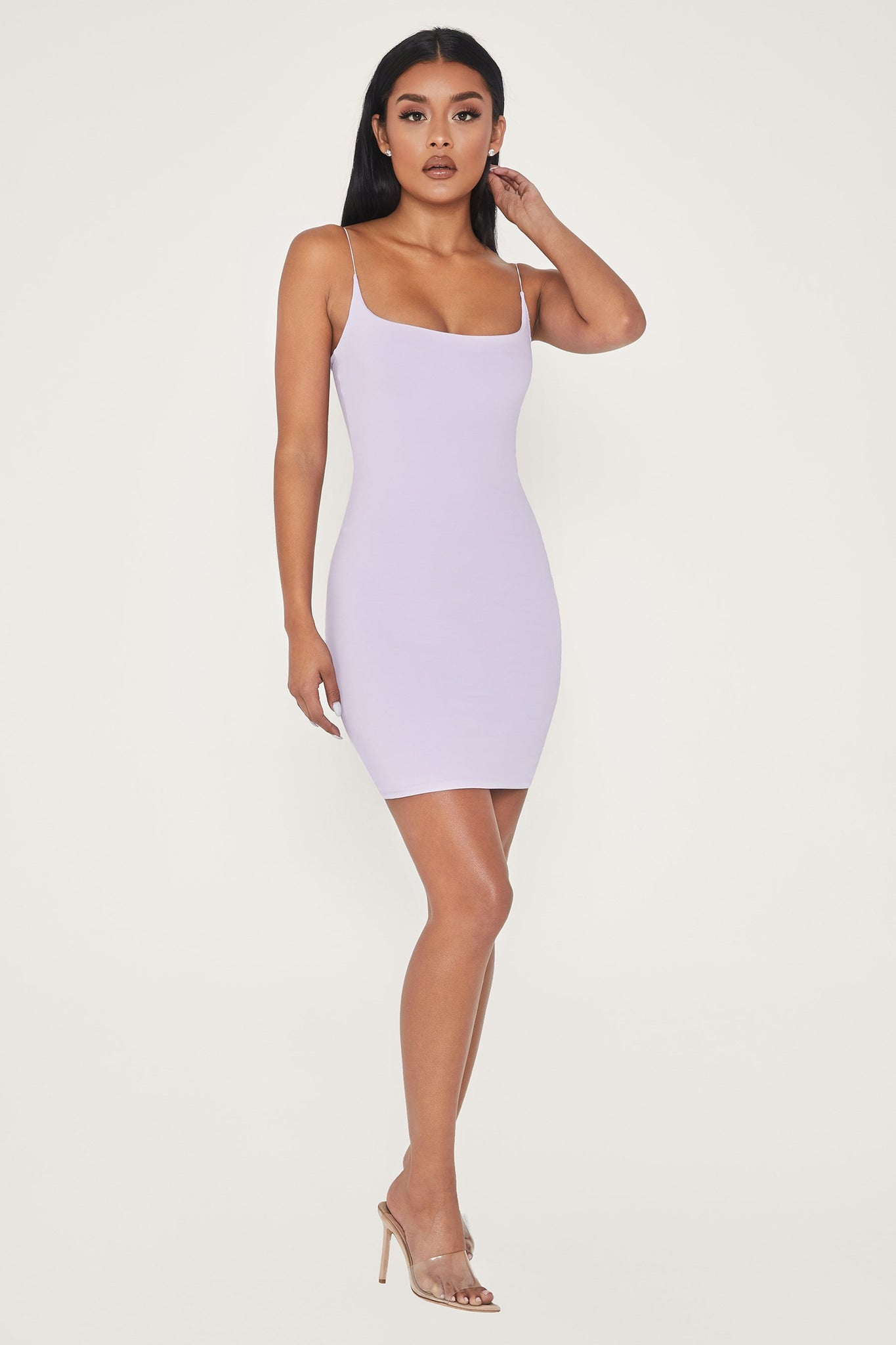 Veda Thin Strap Scoop Neck Dress - Lilac - MESHKI